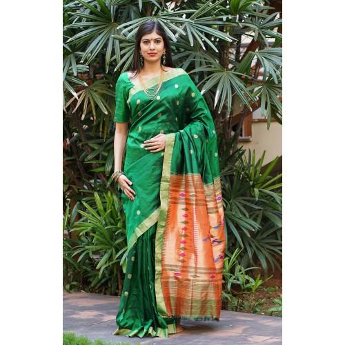 Emerald green handloom Paithani silk saree