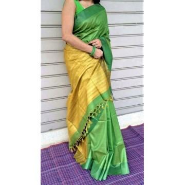 Leaf green Tussar silk saree with yellow Ghicha pallu