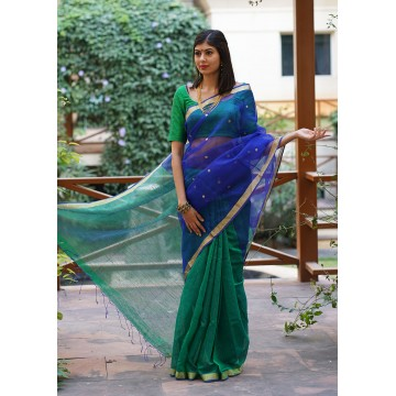 Royal blue and emerald green Matka silk half and half saree