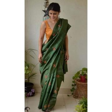 Green embroidered Tussar silk saree