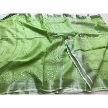 Green linen saree with mirrorwork