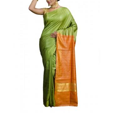 Green Tussar silk saree with orange Ghicha pallu