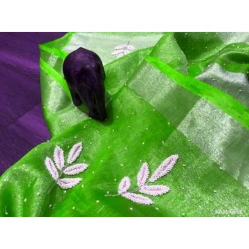 Green tissue linen saree with pearl embroidery