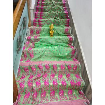 Green and pink Dhakai Jamdani saree