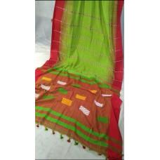 Green and red Khadi cotton handloom saree