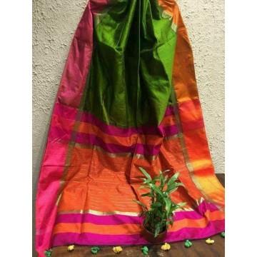 Green silk-cotton saree with Ganga-Jamuna border