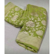 Fern green Banarasi georgette saree with silver floral jaal