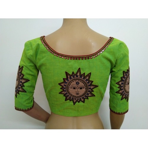 Green Mangalgiri cotton blouse with Kalamkari applique (size 34, can be extended to size 40)