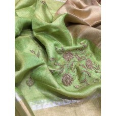 Green tissue linen saree with hand embroidery