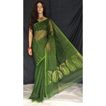 Green zari jamdani cotton silk saree