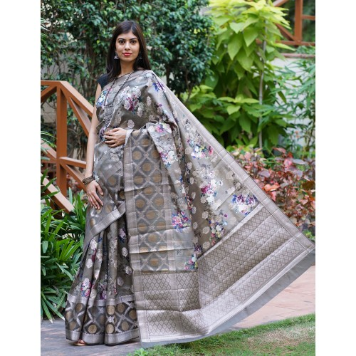 Grey Banarasi Dupion silk with digital print