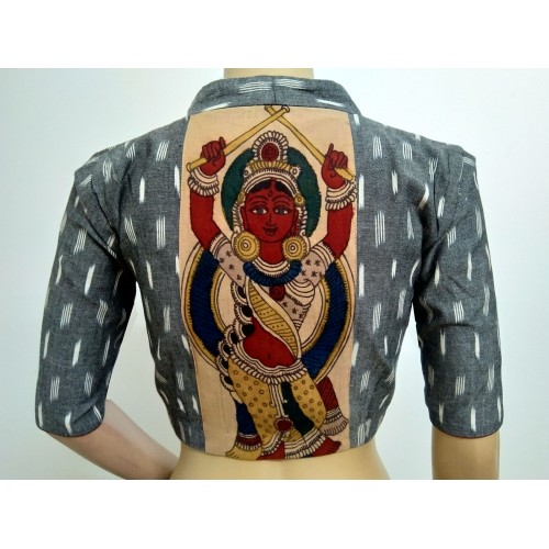 Grey Ikat blouse with Kalamkari patch (size 36, can be extended to size 40)