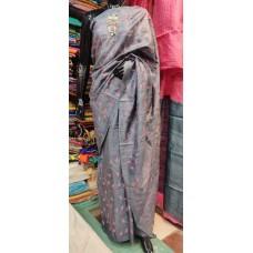 Grey embroidered Tussar silk saree