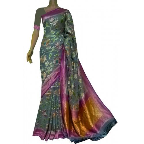 Grey floral Banarasi georgette saree
