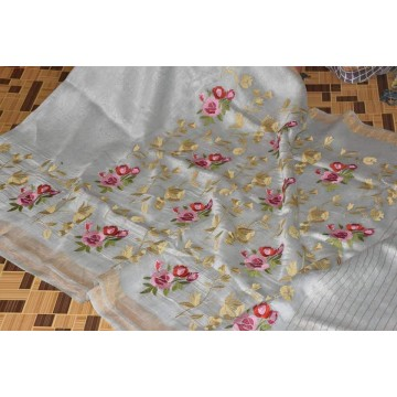 Light grey linen-silk saree with floral embroidery