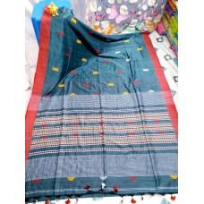 Grey tribal weaving Khadi cotton saree