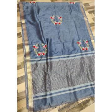 Grey Kota silk-linen saree with hand embroidery