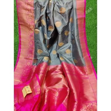Grey and magenta Banarasi Katan silk saree