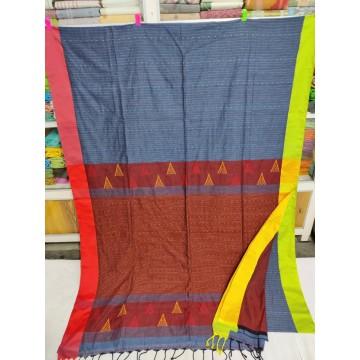 Grey mercerized cotton saree with jamdani pallu and Kantha stitch