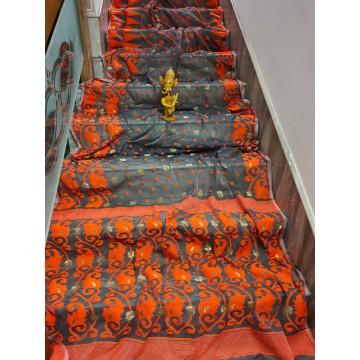Grey and orange Dhakai Jamdani saree