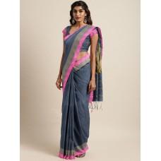 Grey Bengal handloom cotton blend saree