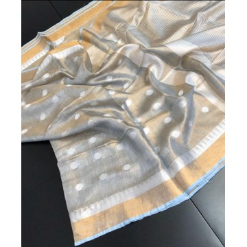 Grey polka motif tissue linen saree with temple border