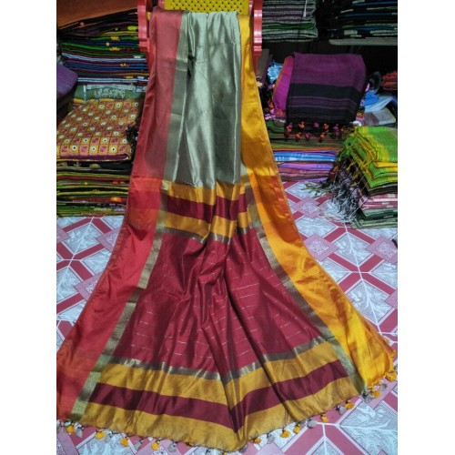 Grey silk-cotton saree with Ganga-Jamuna border