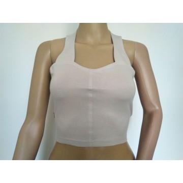 Grey stretch halter neck blouse  (size 33-36)