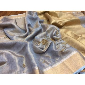 Grey tissue linen saree with hand embroidery