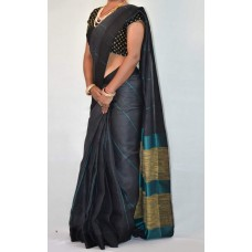 Grey linen saree with turquoise lines