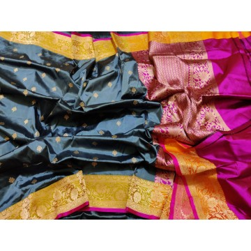 Grey and yellow Banarasi Katan silk saree