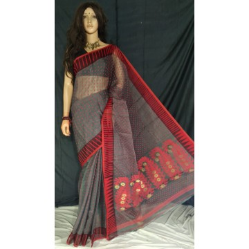 Grey zari jamdani cotton silk saree