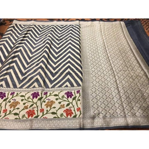 Charcoal grey chevron pattern Banarasi chiffon saree