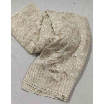 Ivory Banarasi georgette saree with silver floral jaal