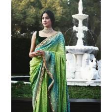 Green Banarasi Bandhani georgette-chiffon saree