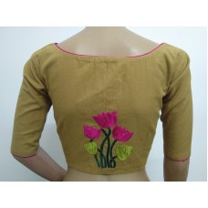 Khaki hand embroidered designer blouse (size 36, margin to increase to 40)
