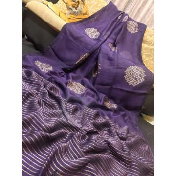 Lavendar linen saree with Banarasi woven motifs