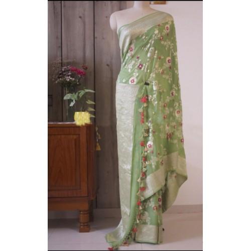 Light green minakari Banarasi georgette saree