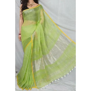 Light green linen saree with yellow trim