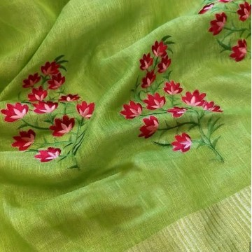 Lime green tissue linen saree with floral embroidery