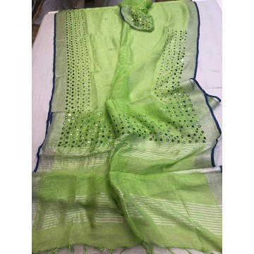Lime green linen mirrorwork saree