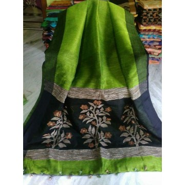 Lime green linen-silk saree with jamdani pallu
