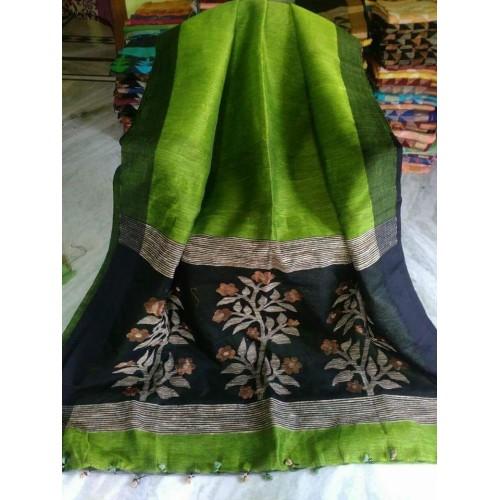Lime green linen-silk saree with jamdani pallu