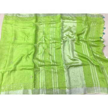 Lime green linen saree with mirrorwork