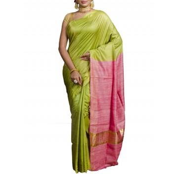 Lime green Tussar silk saree with pink Ghicha pallu