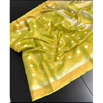 Lime polka motif tissue linen saree with temple border