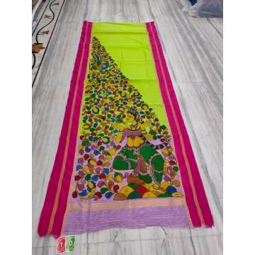 Lime silk-cotton saree with hand-painted Kalamkari applique