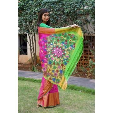 Magenta and lime green Uppada silk saree with hand painted Kalamkari applique