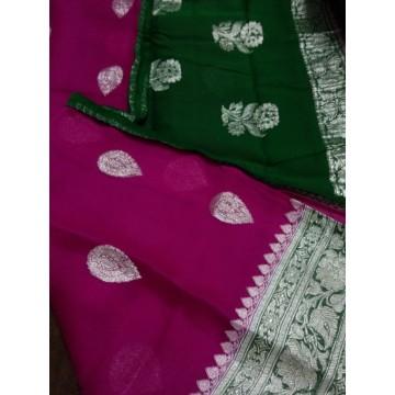Magenta and green handwoven Banarasi chiffon saree with silver zari