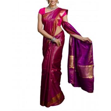 Magenta Tussar silk saree with purple Ghicha pallu